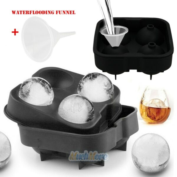 ICE Balls Maker Round Sphere Tray Mold Cube Whiskey Ball SiliconeWater Funnel $6.99