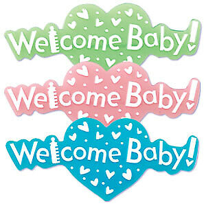 New Baby Shower Welcome Baby Cupcake Toppers Set of 3 Placs