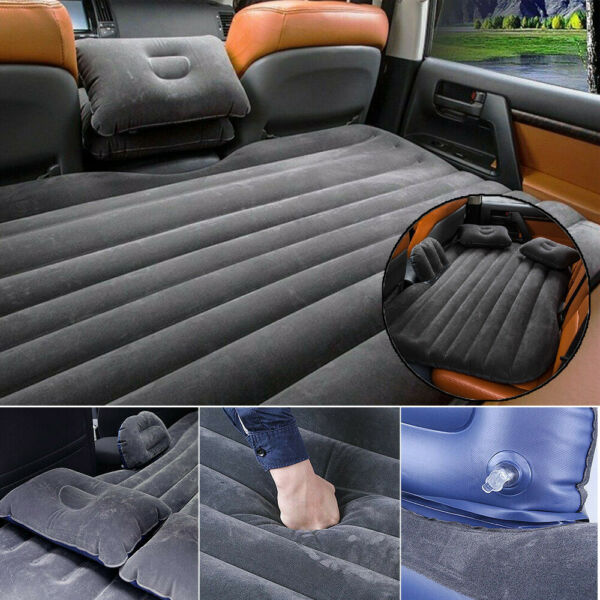 US Universal Car Flocking Inflatable Bed Air Mattress Seat Cover Travel Camping