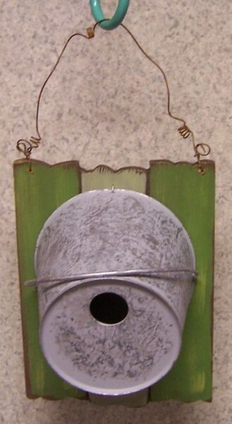 Bird House Metal Pail on a fence NEW