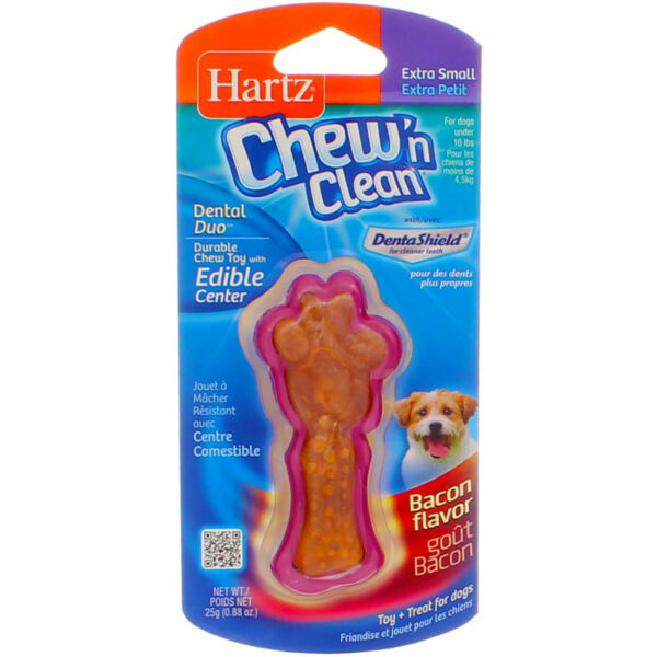 4 Pack Hartz Chew N Clean Dental Duo Dog Chew Toy Extra Small Bacon Flavor $21.37