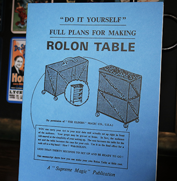 ROLON TABLE BOOKLET Do It Yourself Plans Making Roll On Magician Magic Prop Case