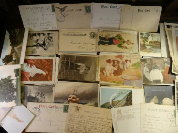 LOT OF 50 + VINTAGE ANTIQUE POSTCARDS  SCENIC USA VIEWS  1900s -1970s ****