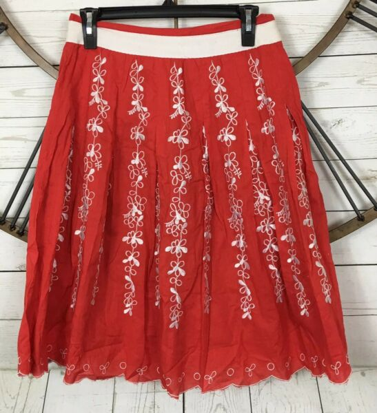 Willi Smith Skirt 4 Orange Coral Floral Embroidered Pleated A-Line Skirt Boho