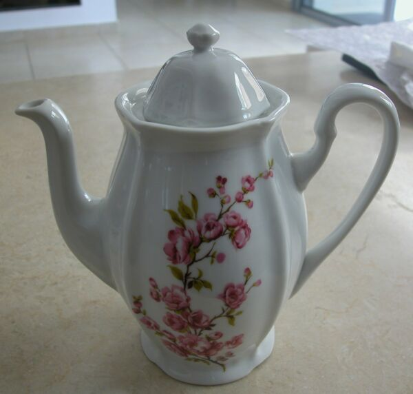 A Vintage White With Pink Flowers Porcelain Coffee Or Teapot Produced By Arpo