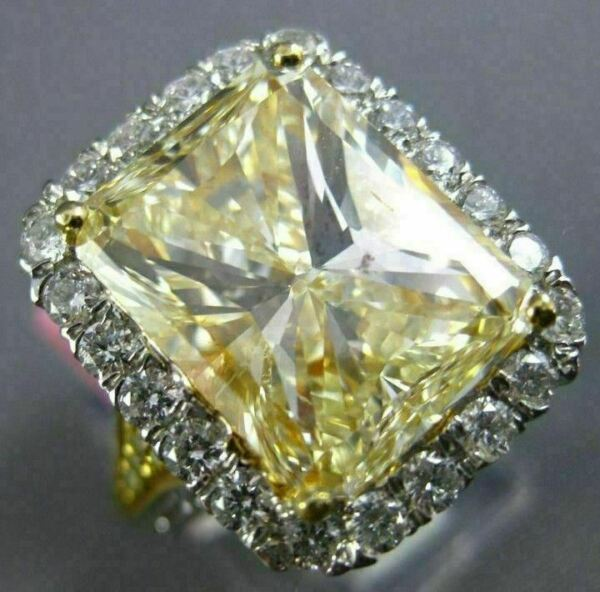 EXTRA LARGE 10.08CT WHITE & FANCY YELLOW DIAMOND 18K 2TONE GOLD ENGAGEMENT RING