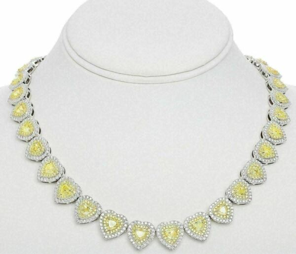 LARGE 22.54CT WHITE & FANCY YELLOW DIAMOND 18K 2 TONE GOLD HEART TENNIS NECKLACE