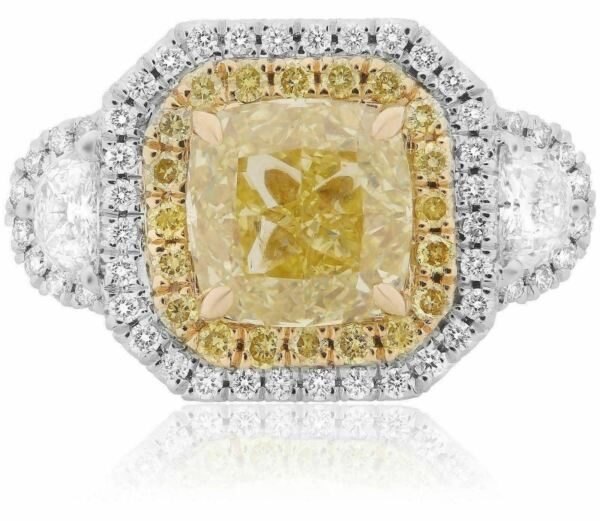 ESTATE LARGE 4.34CT WHITE & FANCY YELLOW DIAMOND 18K 2 TONE GOLD ENGAGEMENT RING