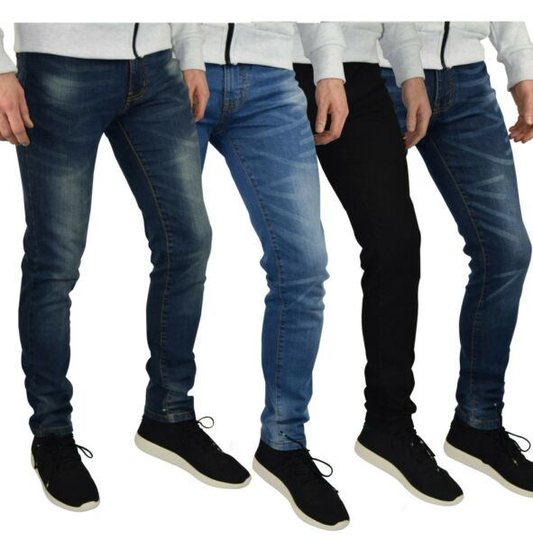 Mens Slim Fit Stretch Jeans Comfy Fashionable Super Flex Denim Pants