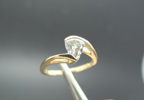 .74ct Pear Shape VS Right Hand Diamond Solitaire 14k Ring Appraisal $4600.00