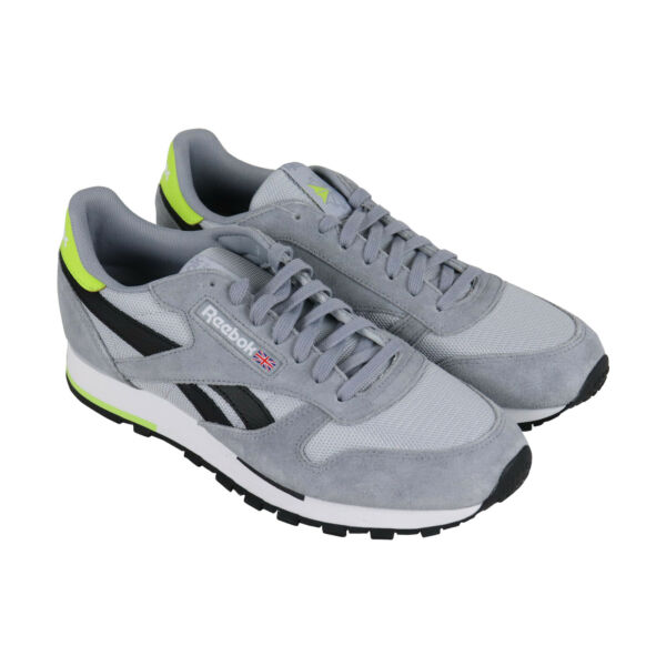 Reebok Classic Leather Mu Mens Gray Suede & Mesh Low Top Sneakers Shoes