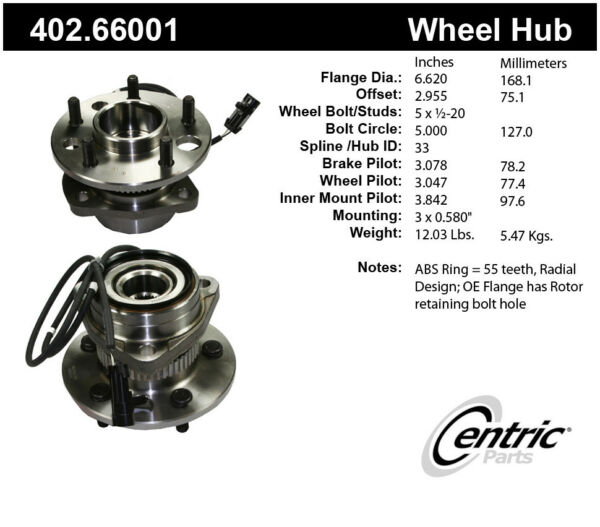 Axle Bearing and Hub Assembly-Premium Hubs Front Centric 402.66001