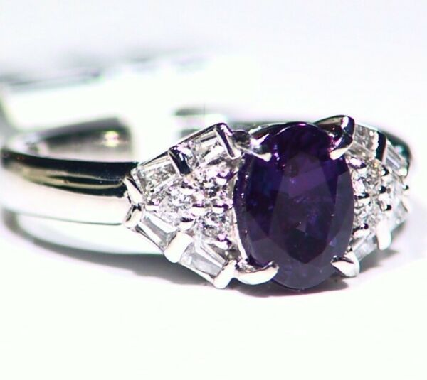 Vintage 1.80CT Platinum Natural Cut White Diamond Alexandrite Engagement Ring