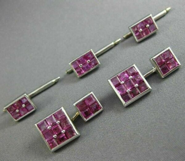 ESTATE LARGE 5.0CT AAA PINK RUBY 14KT WHITE GOLD SQUARE SHIRT STUD CUFFLINK SET