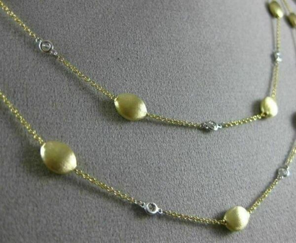 ESTATE LONG 1.20CT DIAMOND 14K WHITE & YELLOW GOLD OVAL BY THE YARD FUN NECKLACE