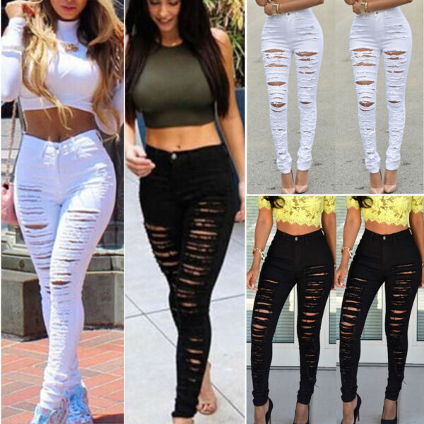 Women Ripped Jeans Skinny Denim Pencil Pants High Waist Stretch Trouser Jeggings