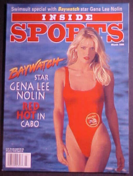 MARCH 1996 INSIDE SPORTS! BAYWATCH-GENE LEE NOLAN SWIMSUIT COVER! NO LABEL!
