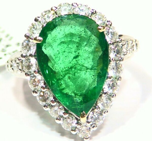 9.75CT 18K Gold Natural Emerald White Diamond Vintage Jewelry Engagement Ring
