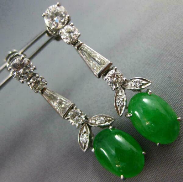 ANTIQUE LARGE 8.10CT DIAMOND & AAA EMERALD 14KT WHITE GOLD LEAF HANGING EARRINGS