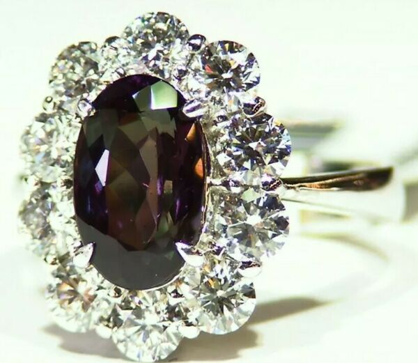 GIA Certified 4.73CT Platinum Natural Brazilian Alexandrite Diamond Vintage Ring