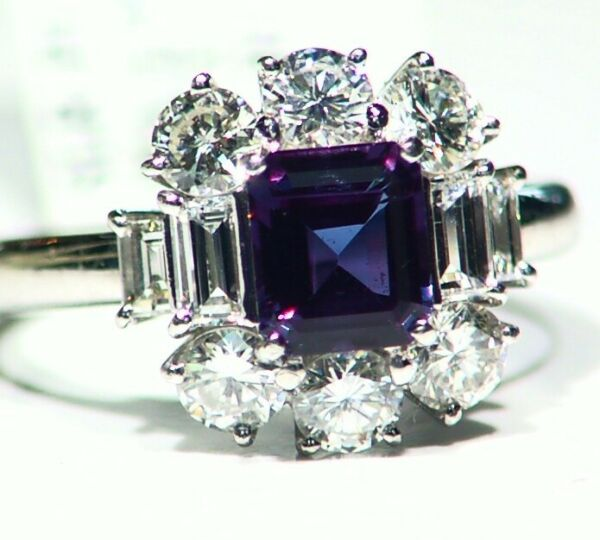 GIA Vintage 2.45CT Platinum Natural Cut White Diamond Alexandrite Ring Authentic