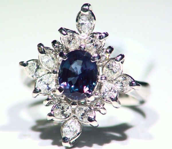 Vintage 2.68CT Platinum Natural Cut White Diamond Alexandrite Engagement Ring
