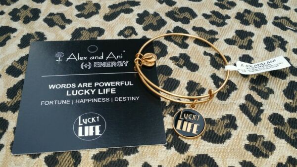 NWT ALEX AND ANI BRACELET ** LUCKY FOR LIFE    **  BLACK & GOLD TONE RETIRED