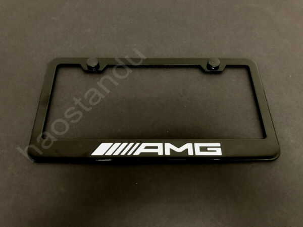 1xxAMG BLACK STAINLESS LICENSE PLATE FRAME Screw Caps NEW Style