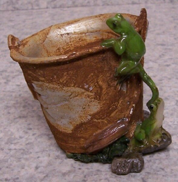 "Flower Pot Rustic Pail for Succulent Tillandsia plant resin planter NEW 2½"" tall"