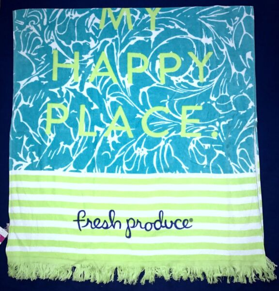 FRESH PRODUCE Luna Blue HAPPY PLACE Cotton Velour BEACH Towel New NWT