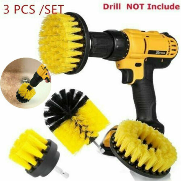 3PCS drill brush for Car Carpet wall and Tile cleaning MEDIUM DUTY(YELLOW) NEW