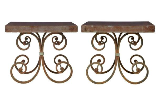 PAIR OF 1920's FRENCH IRON BAKER TABLES MARBLE TOP