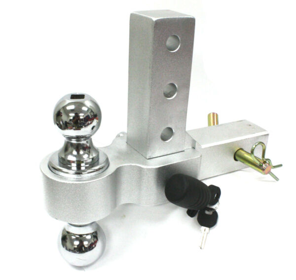 2quot; 2 5 16quot; Dual Ball Mount Hitch Adjustable Aluminum Raise Drop Trailer Tow Lock $74.99