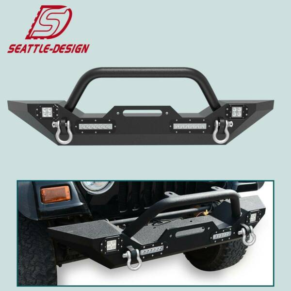 Front Bumper Winch Plate D-Rings & Led Lights For Jeep Wrangler 87-06 YJ TJ