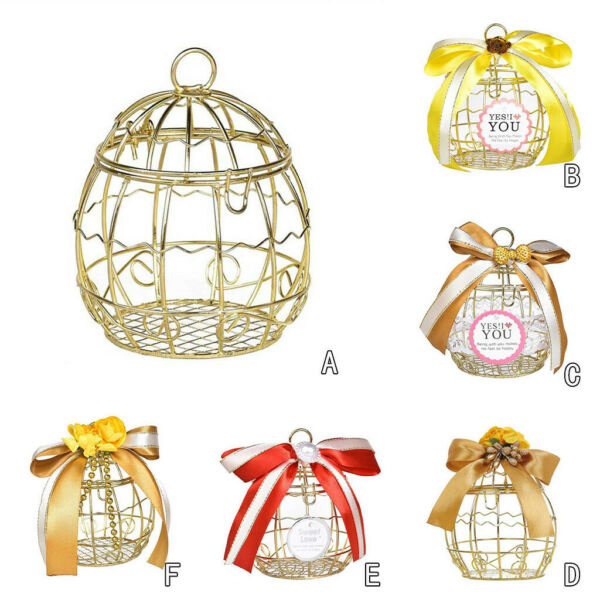 Hollow Bird Cage Wedding Party Gift Box Container Tinplate Candy Chocolate Boxes