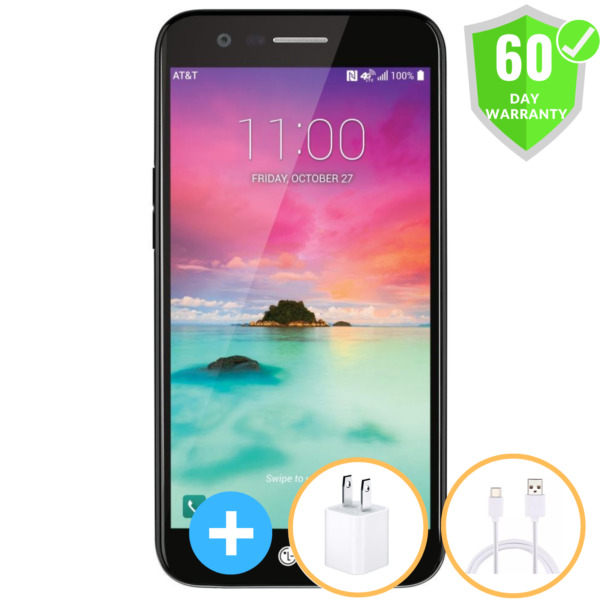 LG K20 M255 4G LTE 16GB 5.3quot; Black Phone Atamp;t Unlocked All GSM Carriers Mint