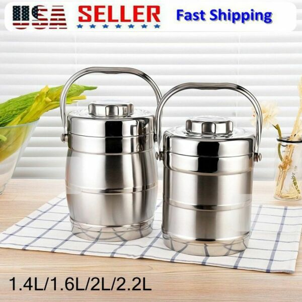 Vacuum Insulated Lunch Box 3 Tier Jar Hot Thermos Food Container Stainless Steel