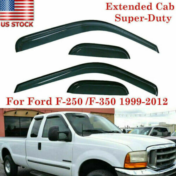 Rain Guard Shade Vent Visors For Ford F-250F-350 Super-Duty Extended Cab 99-16