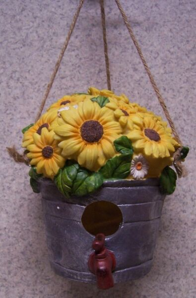 Bird House Pail of Sunflowers NEW Hang from a hook OR Sit on a ledge