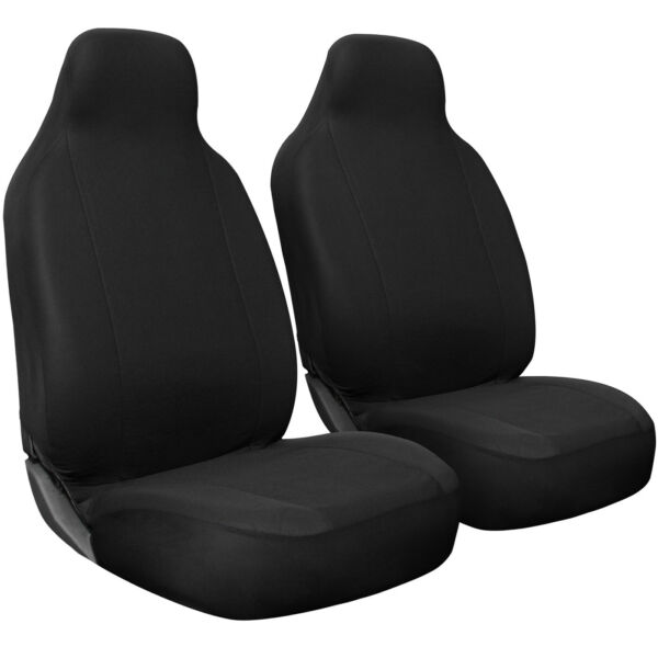 Seat Cover Set Front Integrated Bucket for Car Truck SUV Flat Cloth - 2pc Black
