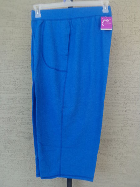 NWT  JUST MY SIZE 3X FRENCH TERRY JERSEY KNIT POCKET CAPRIS HEATHER BLUE