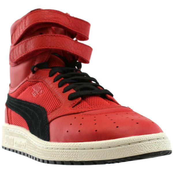 Puma Sky II High Color Blocked Leather Sneakers - Red - Mens