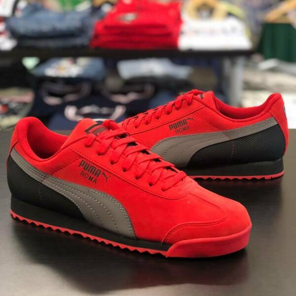 Puma Roma Retro Red Grey Black Nubuck Lace Up Men's Sneakers Shoes Sizes