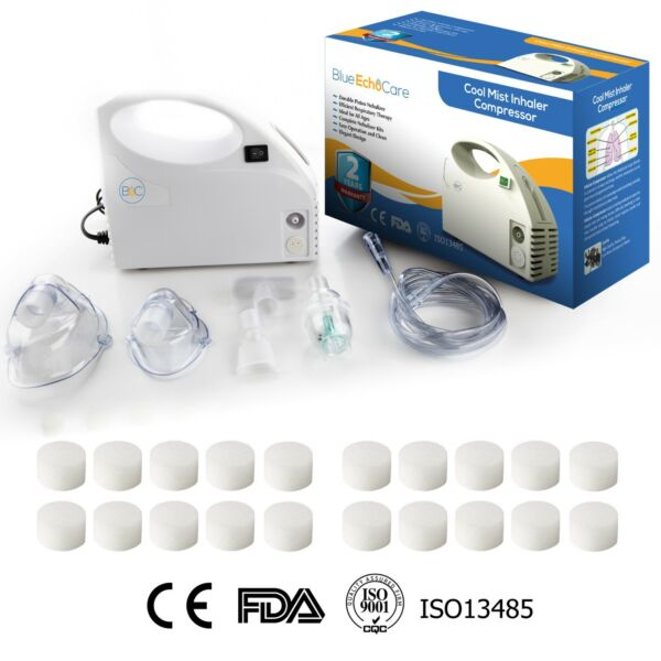 Portable Nebulizer Machine with 20 Filters Travel Bag Adult and Child Mask