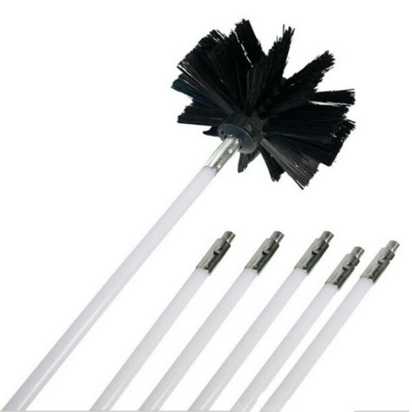 Chimney Cleaner Brush Rotary Sweep System Fireplace Cleaning Kit Rod Tools 12ft
