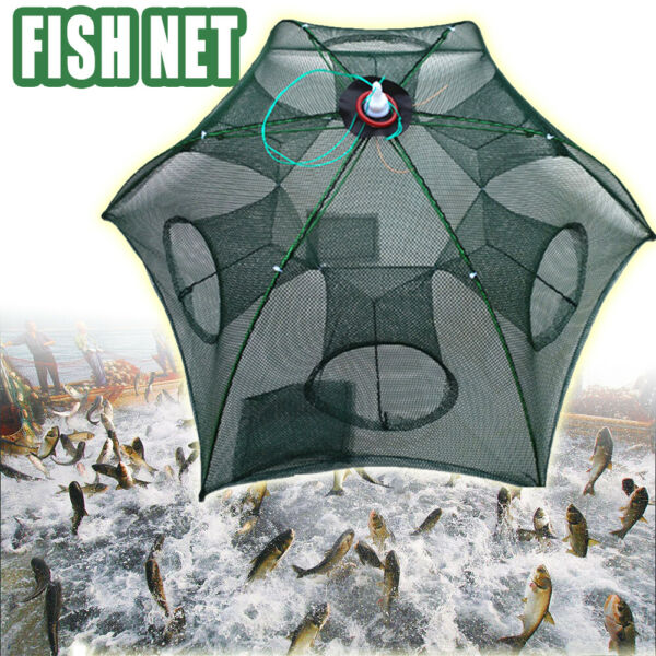 Large Fishing Trap Automatic Folding Cast Cage Crab Fish Net Rivers Lakes $10.99