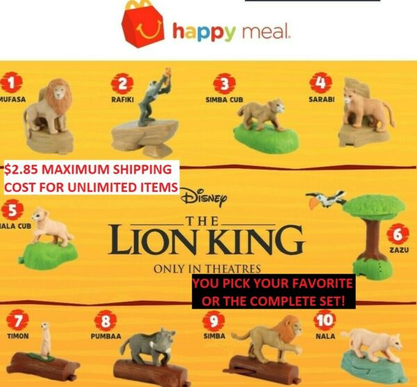 2019 McDonalds Disney THE LION KING Happy Meal Toys Stickers Boxes - IN HAND!!