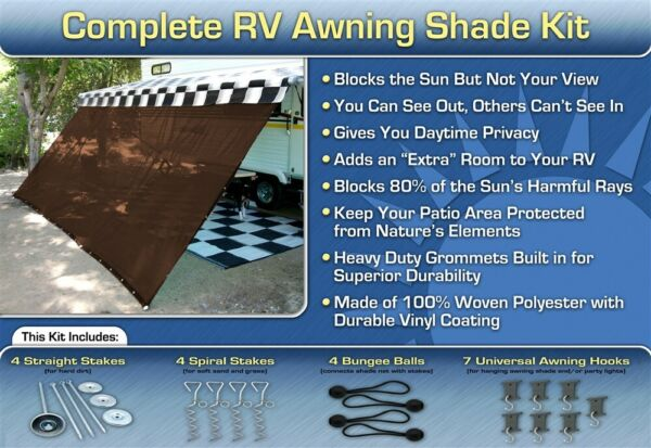 RV Awning Shade Kit RV Shade Complete Kit 8x12 Brown