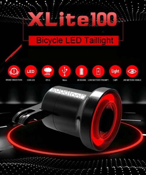 XLite100 Bicycle Bike Smart Brake Tail Rear Lamp Light COB Sense LED USB IPX6 GT $12.89