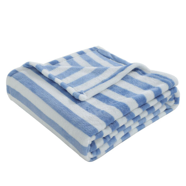 Soft Blue Floral White Striped Plush Flannel Fleece Throw Blanket for Couch Bed